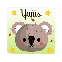 Puzzle en bois bébé 4 pièces Koala personnalisé avec prénom