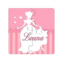 Puzzle en bois bébé 4 pièces Princesse personnalisé avec prénom
