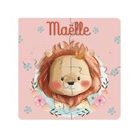 Puzzle en bois bébé 4 pièces Lion personnalisé avec prénom