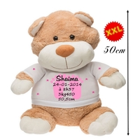 Nounours ourson géant Naissance fille personnalisé avec prénom,date de naissance,taille....