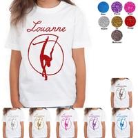Tee shirt enfant paillettes GRS Gymnastique personnalisé avec prénom