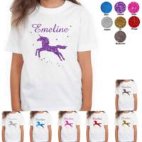 Tee shirt enfant paillettes Licorne personnalisé avec prénom