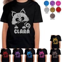 Tee shirt enfant paillettes Chaton personnalisé avec prénom