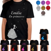 Tee shirt enfant paillettes Princesse personnalisé avec prénom