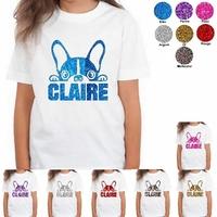 Tee shirt enfant paillettes Chien Bouledogue personnalisé avec prénom