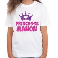 Tee shirt enfant paillettes Princesse Rose et parme  personnalisé avec prénom