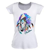 Tee shirt femme Cheval BOHO personnalisé avec prénom