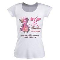 Tee shirt femme EVJF personnalisé avec prénom date et prénoms des copines