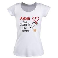 Tee shirt femme Aide soignante personnalisé avec prénom
