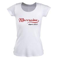 Tee shirt femme Marraine depuis personnalisé avec année au choix