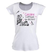 Tee shirt femme Coiffeuse qui déchire personnalisé avec prénom