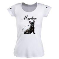 Tee shirt femme Chiot Bouledogue français personnalisé avec prénom