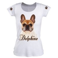 Tee shirt femme Chien Bouledogue français personnalisé avec prénom
