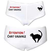 Shorty femme humour Attention Chat sauvage !