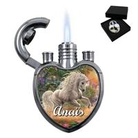 Briquet coeur Licorne personnalisé avec le prénom de votre choix