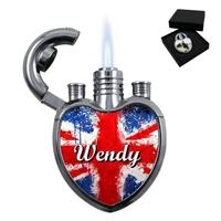 Briquet coeur Anglais personnalisé avec le prénom de votre choix
