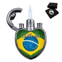 Briquet coeur Brésil personnalisé avec le prénom de votre choix