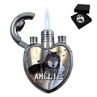 Briquet coeur Loup personnalisé avec le prénom de votre choix
