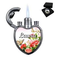 Briquet coeur Fleurs personnalisé avec le prénom de votre choix