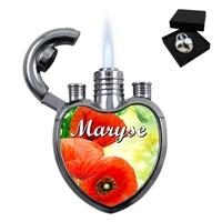 Briquet coeur Coquelicot personnalisé avec le prénom de votre choix