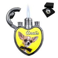 Briquet coeur Chien  Chihuahua personnalisé avec le prénom de votre choix