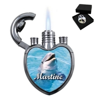 Briquet coeur Dauphin personnalisé avec le prénom de votre choix