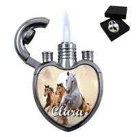 Briquet coeur chevaux personnalisé avec le prénom de votre choix