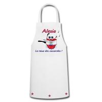 Tablier de cuisine humour La reine des casseroles personnalisé avec prénom