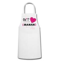 Tablier de cuisine femme On t'aime maman personnalisé avec prénoms en signature