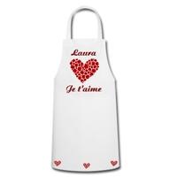 Tablier de cuisine Amour Je t'aime personnalisé avec prénom