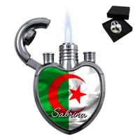 Briquet coeur Algérie personnalisé avec le prénom de votre choix