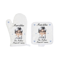 Gant et manique de cuisine Mamie Grand mère personnalisé avec prénom et message