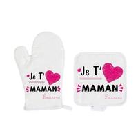 Gant et manique de cuisine Je t'aime maman personnalisé avec prénom en signature