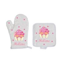 Gant et manique de cuisine Cupcake personnalisé avec prénom