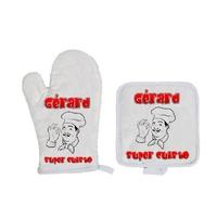 Gant et manique de cuisine Super cuisto personnalisé avec prénom