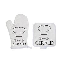 Gant et manique de cuisine Toque de cuisinier personnalisé avec prénom