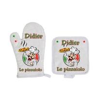 Gant et manique de cuisine Pizza Pizzaiolo personnalisé avec prénom