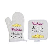 Gant et manique de cuisine Mamie 5 étoiles personnalisé avec prénom