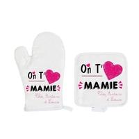 Gant et manique de cuisine On t'aime mamie personnalisé avec prénoms en signature