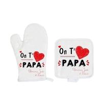 Gant et manique de cuisine On t'aime papa personnalisé avec prénoms en signature