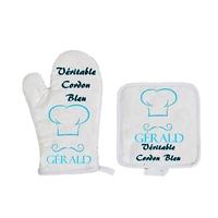 Gant et manique de cuisine Véritable cordon bleu personnalisé avec prénom