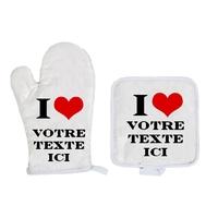 Gant et manique de cuisine I LOVE personnalisé avec votre texte