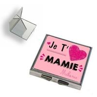 Miroir de poche Je t'aime mamie personnalisé avec prénom en signature