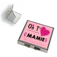 Miroir de poche On t'aime mamie personnalisé avec prénoms en signature