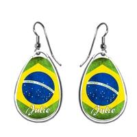 Boucles d'oreilles Brésil personnalisées avec prénom