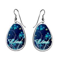 Boucles d'oreilles Fleurs bleues personnalisées avec prénom