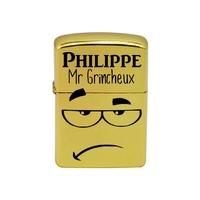 Briquet essence Mr Grincheux personnalisé avec le prénom de votre choix