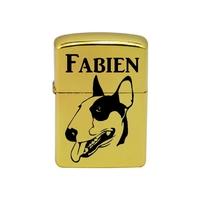 Briquet essence Chien Bull terrier personnalisé avec le prénom de votre choix