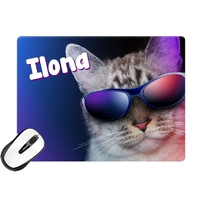 Tapis de souris Chat à lunettes personnalisé avec prénom