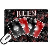 Tapis de souris Casino Cartes Poker personnalisé avec prénom